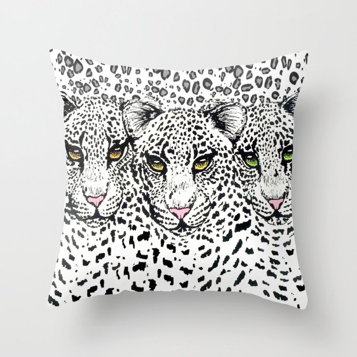 THREE SNOW LEOPARDS Throw Pillow