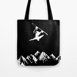 Rocky Mountain Snowboarder Catching Air Tote Bag