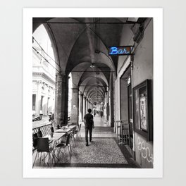 Black and white Bologna Street Photography Art Print