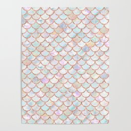 Pastel Memaid Scales Pattern Poster