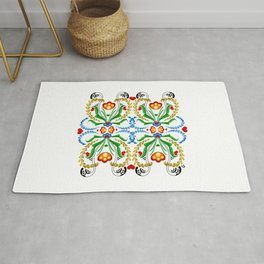 Scandinavian Folk Art ~ Tulip Mosaic Rug