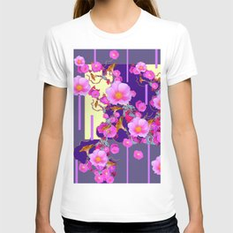 Modern Artwork Pink Wild Roses Purple Grey Design T-shirt