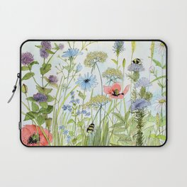Floral Watercolor Botanical Cottage Garden Flowers Bees Nature Art Laptop Sleeve
