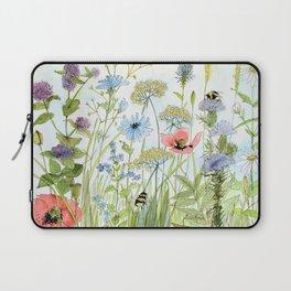 Floral Watercolor Botanical Cottage Garden Flowers Bees Nature Art Laptop Sleeve