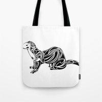 ferret Tote Bags featuring Ferret Design by Tara Prince