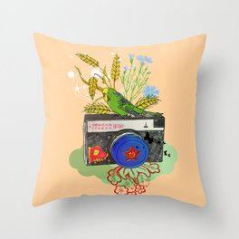 Vintage Soviet Camera Throw Pillow