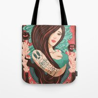 party Tote Bags featuring Party by Victor Beuren
