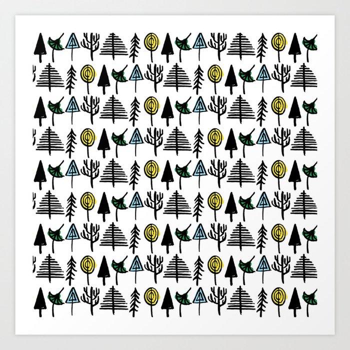 Hand drawn tree pattern Art Print