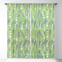 Lily of the Valley Pattern Sheer Curtain