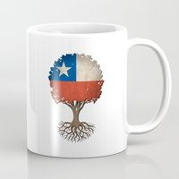 chile Mugs featuring Vintage Tree of Life with Flag of Chile by Jeff Bartels