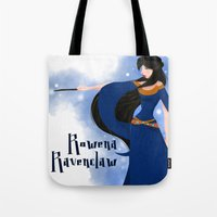 ravenclaw Tote Bags featuring Rowena Ravenclaw by Hailey Del Rio