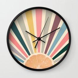 Lemon sun retro Wall Clock