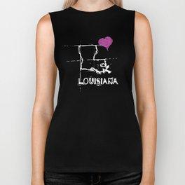 Love Louisiana State Sketch USA Art Design Biker Tank