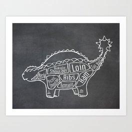 Ankylosaurus Dinosaur (A.K.A. Armored Lizard) Butcher Meat Diagram Art Print