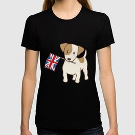 Jack Russell Terrier and Union Jack Illustration T-shirt