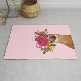 Rose Flower Crown Baby Deer in Pink Rug