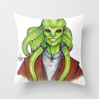 kit king Throw Pillows featuring Kit Fisto by lorna-ka