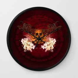 Amazing skull with flowers Wall Clock