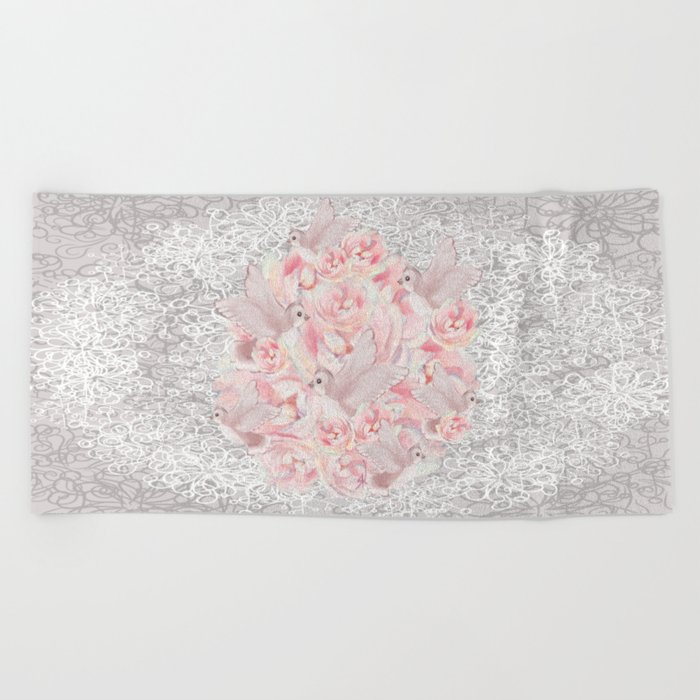 Rose Birds Beach Towel