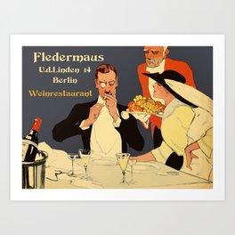 Berlin retro 1920 Plakatstil Fledermaus wine restaurant advertisement Art Print