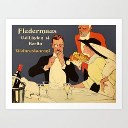 Berlin retro 1920 Plakatstil Fledermaus wine restaurant advertisement Art Print