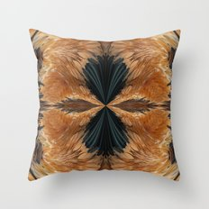 Brown Chicken Feathers Abstract Pattern Throw Pillow
