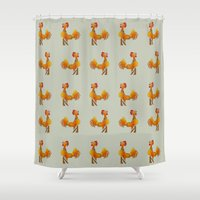 rooster Shower Curtains featuring Rooster  by mailboxdisco
