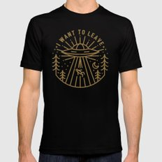 I Want to Leave Black MEDIUM Mens Fitted Tee