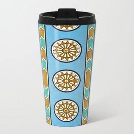 Vintage Assyrian Geometric Design Pattern in Blue, Teal and Mustard Metal Travel Mug