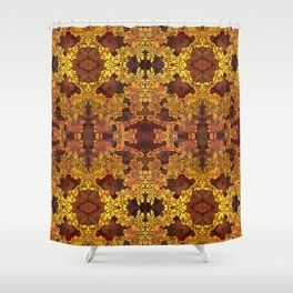 Japanese Stencil Pattern #1 | Floral Watercolor Design in Brown & Yellow Gold Shower Curtain