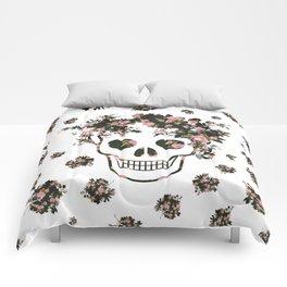 Flower Skull, Floral Skull, Pink Flowers on Human Skull Comforters
