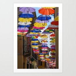 Colorful umbrella street in Italy Art Print