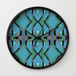 Geometric Power 8 on Blue,Teal,Rust,Purple,Black Wall Clock