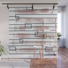 Abstract lines watercolor and geometric painting Wall Mural