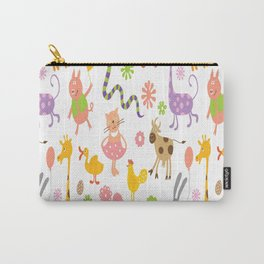 kids animal giraffe elephant cows horse pigs chicken snake cat rabbits duck flower floral rainbow Carry-All Pouch
