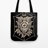 all seeing eye Tote Bags featuring All Seeing Eye by girlxboy