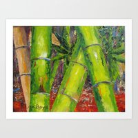 Tree Top Bamboo by Pallet Knife Art Print