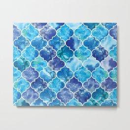 Moroccan Tile Pattern in Blue Watercolor Metal Print