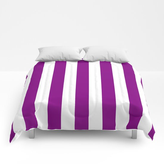 Vertical Stripes (Purple/White) Comforters