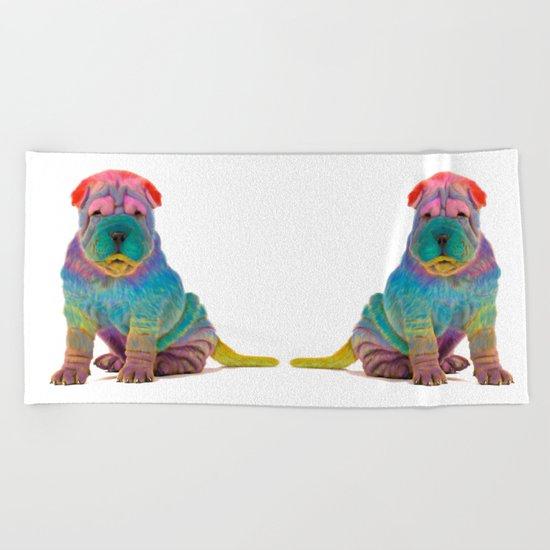 Colorful Sharpei Beach Towel