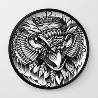 ornate Wall Clocks featuring Ornate Owl Head by BIOWORKZ