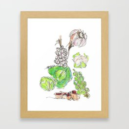 Fresh II: a watercolor of the bounty at Quebec City's farmers' market Framed Art Print