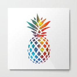 Colored Pineapple Metal Print