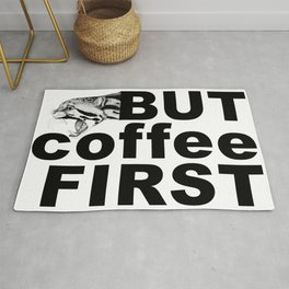 Hand drawn clouded Leopard with But coffee first sign Rug