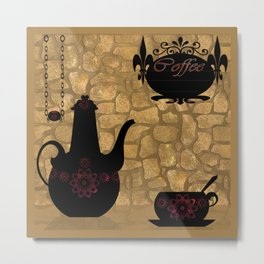 Coffee pot , Cup of coffee . Metal Print