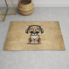Cute Cougar Cub Dj Wearing Headphones Rug