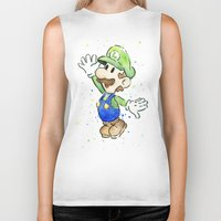 luigi Biker Tanks featuring Luigi Watercolor Art by Olechka
