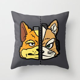 Old & New Fox McCloud Throw Pillow