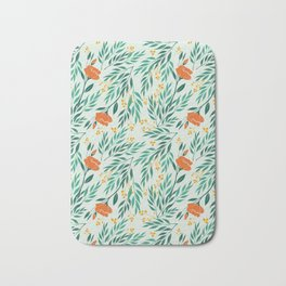 Tropical Flower and Leaves Pattern Bath Mat