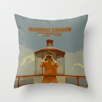 moonrise kingdom Throw Pillows featuring Moonrise Kingdom by FunnyFaceArt